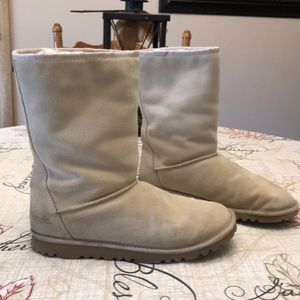 Simple Sheep Suede Leather Wool Lined Boots Sz 10